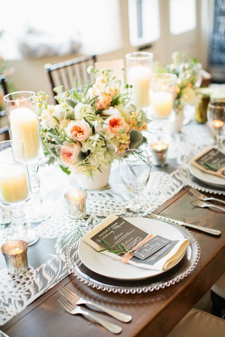 Peach and Ivory Floral Reception Centerpieces