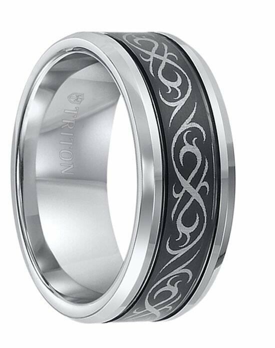 Larson Jewelers KIRBY Beveled Tungsten Carbide Ring with Dual Offset Grooves and Laser Engraved Celtic Pattern Black Tungsten Center by Triton Rings - 9 mm Wedding Ring photo