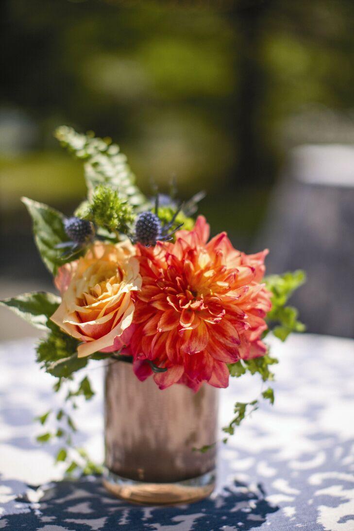 Dahlia and Rose Centerpiece