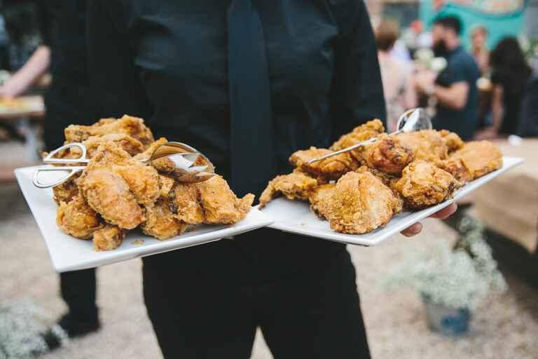 Fried chicken platter wedding reception food