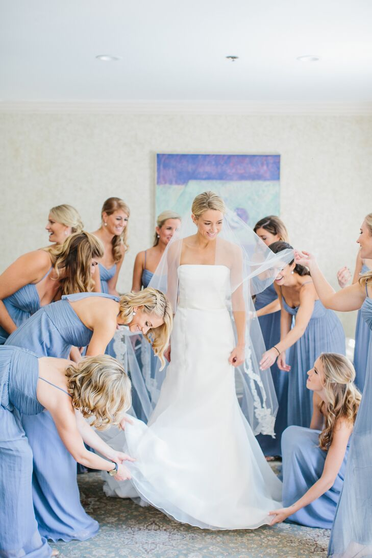 Mixed Slate Blue Amsale Bridesmaid Dresses