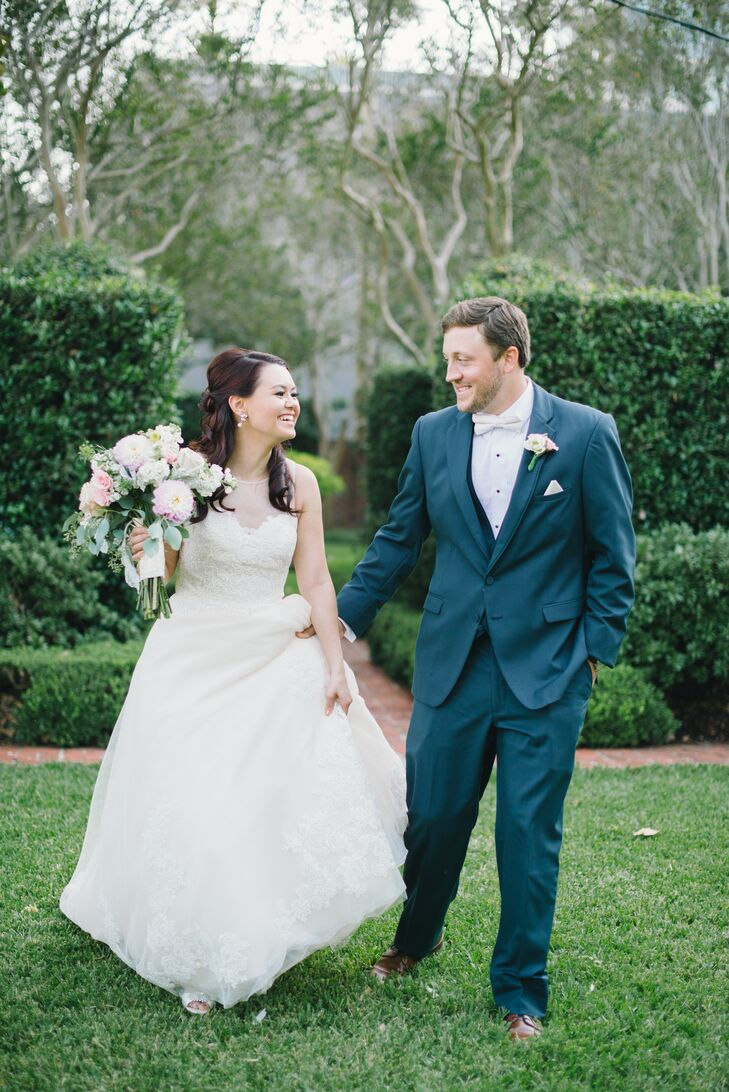 """Classic"" only begins to describe this lush garden wedding. Once Monica Coimbra (25 and a photo organizer) and Andrew Seagraves (29 and a research sci"