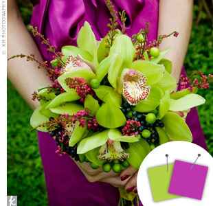 Purple and lime bridesmaid bouquet