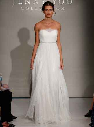 Jenny Yoo Fall 2016 strapless wedding dress with sweetheart neckline and lace details along neckline, bodice and flowing skirt with beaded belt