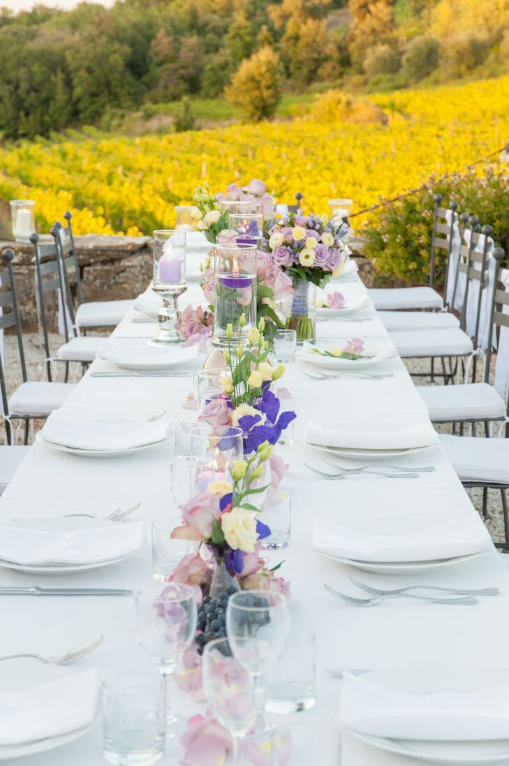 White Table Setting at Reception