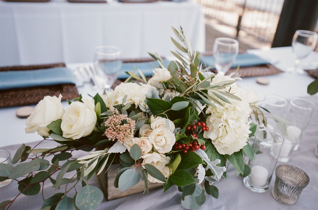 Romantic rose and olive branch centerpieces