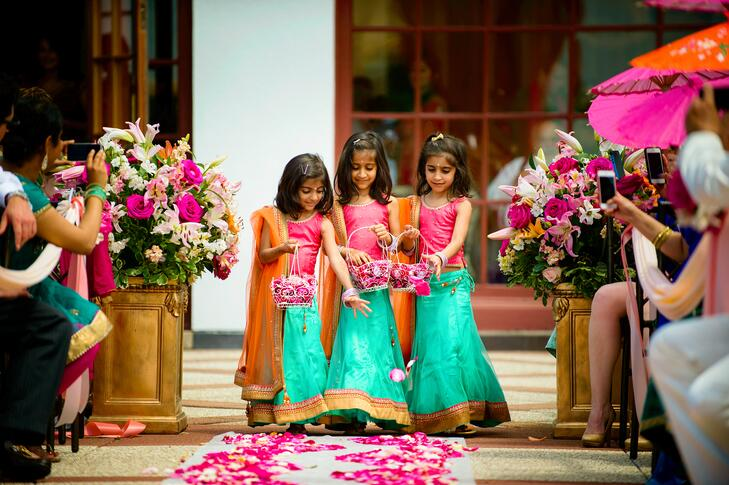 Hindu wedding trio of flower girls