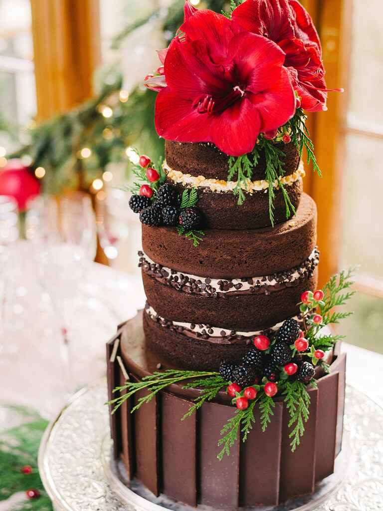 Three-tier chocolate fudge naked wedding cake