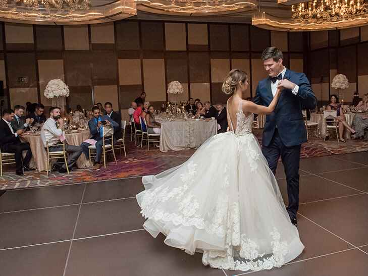 couple having their first dance at their wedding reception at the mandarin oriental in las vegas.