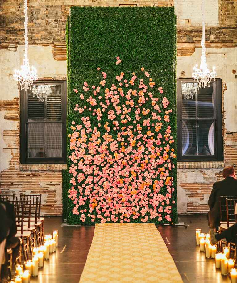 Floor to ceiling flower wall instillation