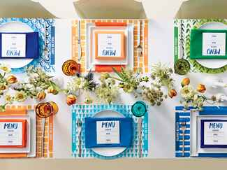 Blue, orange and green wedding color palette
