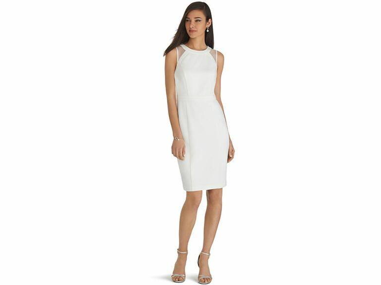 white sheath dress with mesh back
