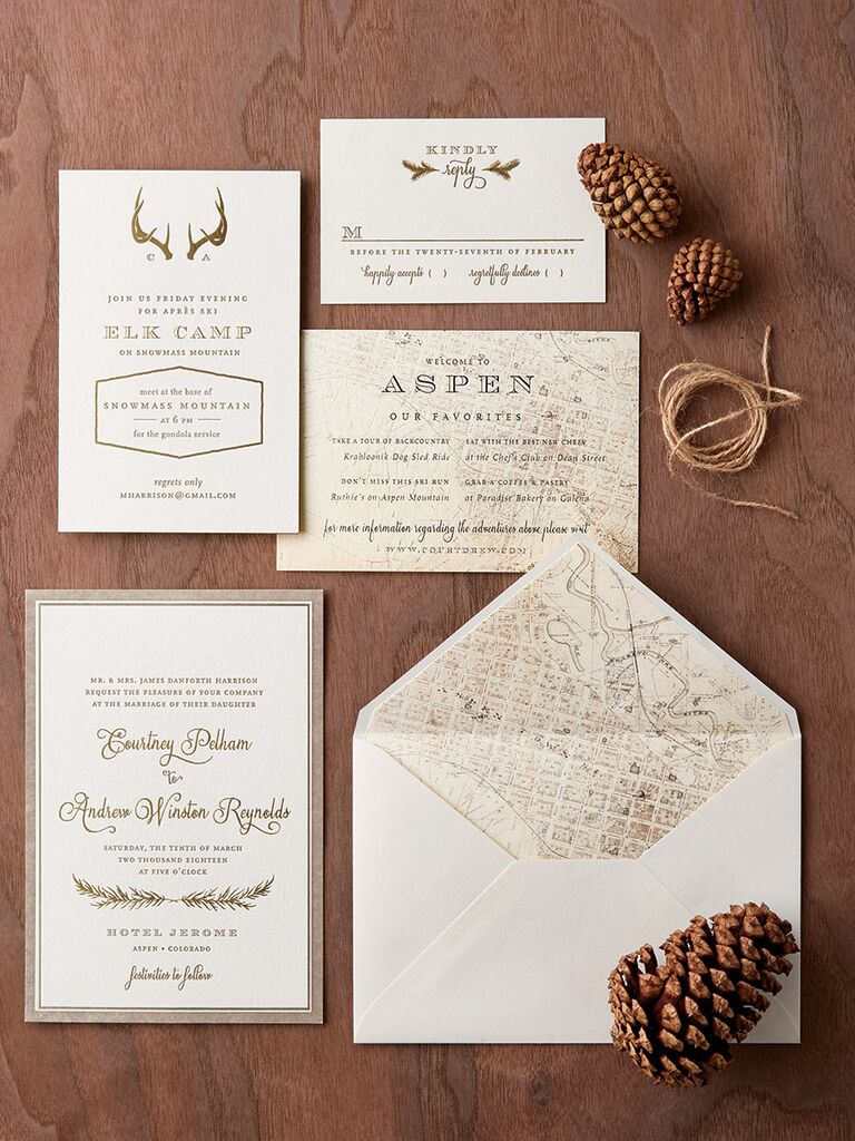 Mapped Out. Regas Paper Pocket Wedding Invitation