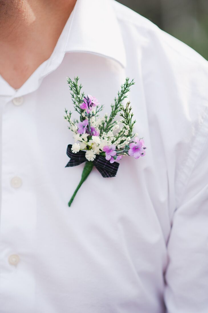 Small purple and white flower boutonniere mightylinksfo Image collections
