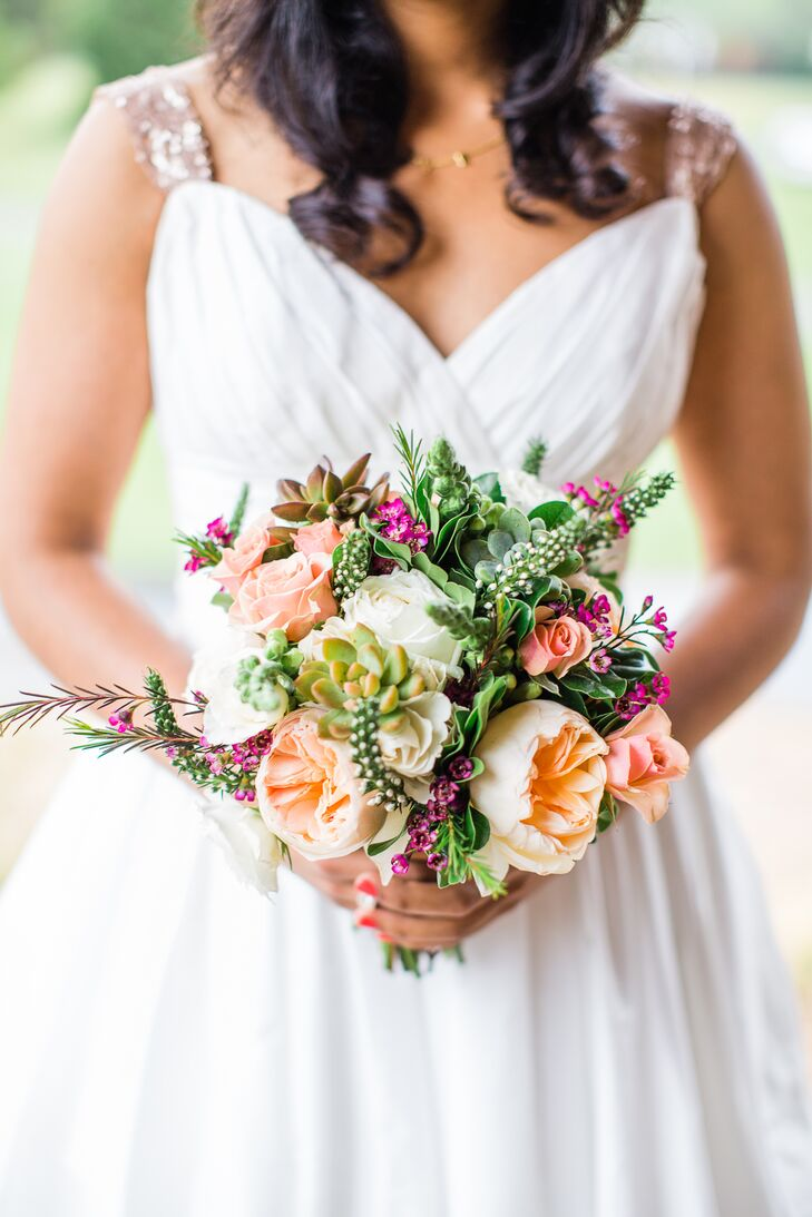 Sophia carried peonies, garden roses, succulents, dahlias and veronica in her lush bouquet from Tre Bella Florist. She wanted shades of ivory, peach and green to match the palette and bring a garden party feel to her look.