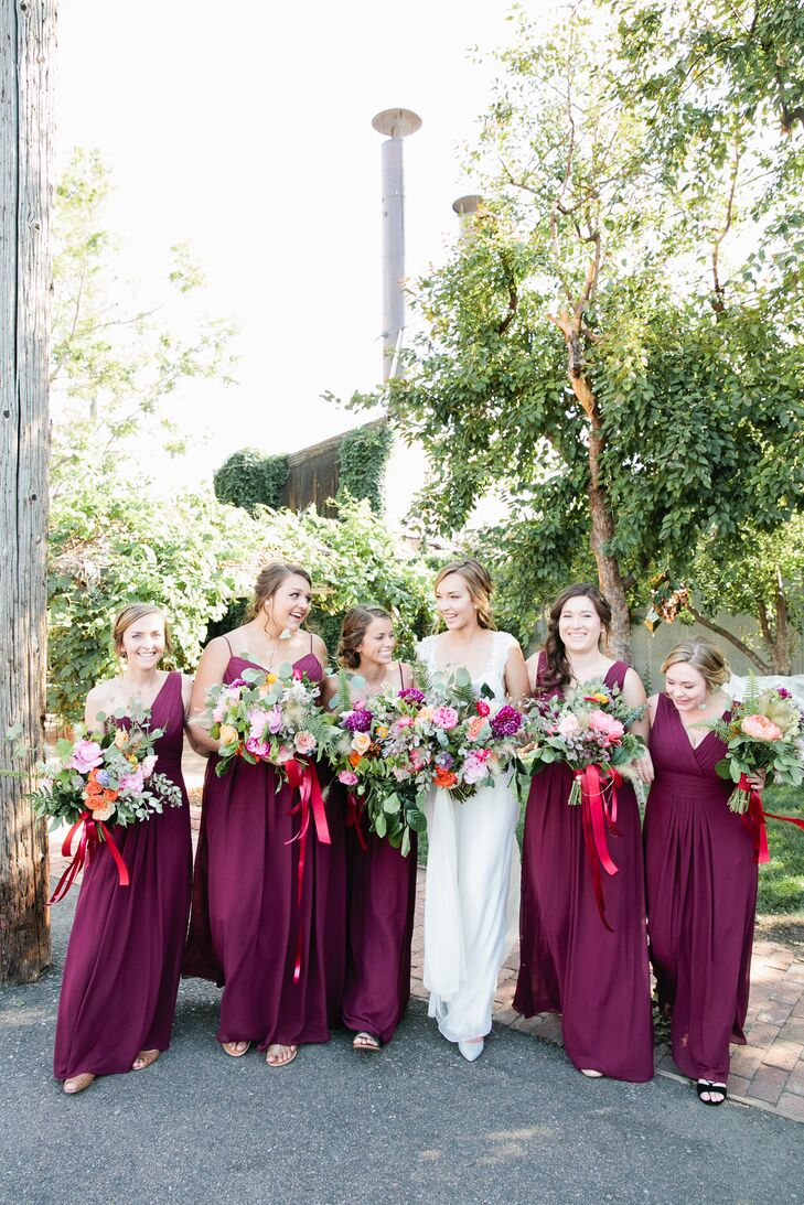Long wine colored bridesmaid dresses for Wine colored wedding dresses