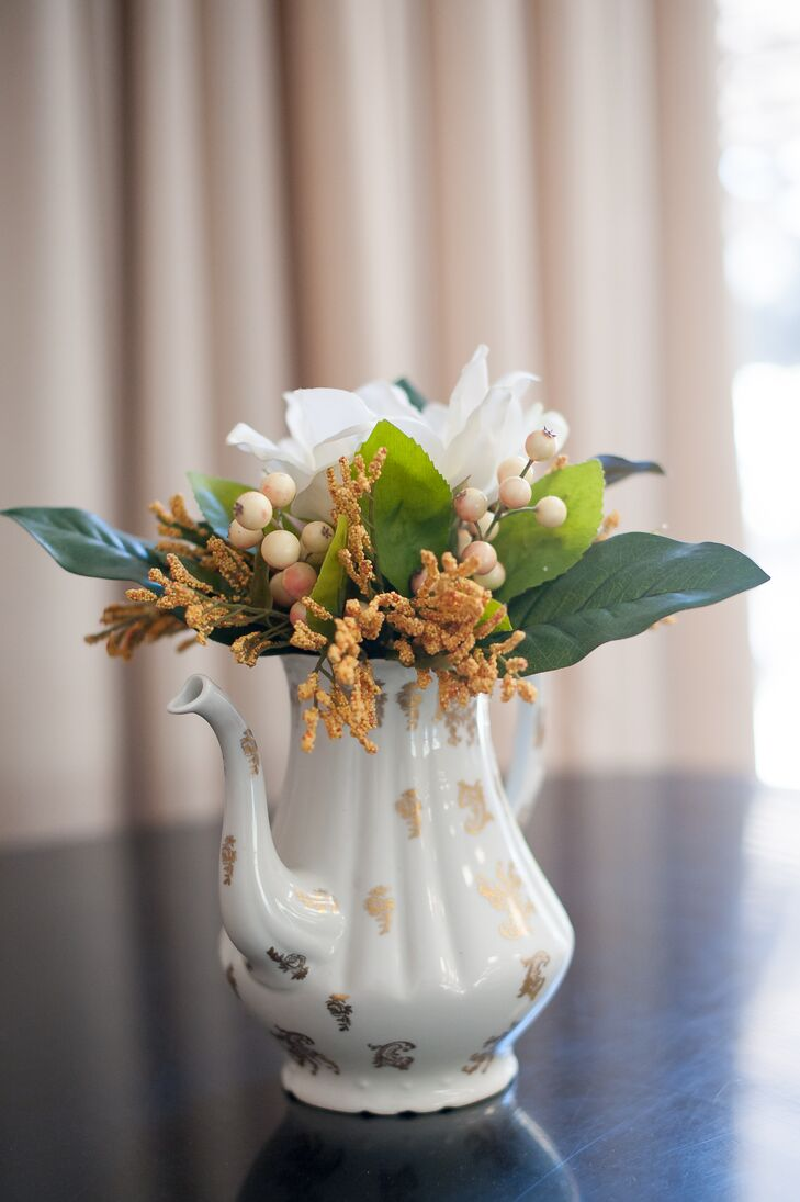 Flower-Filled Vintage China Teapot Centerpiece