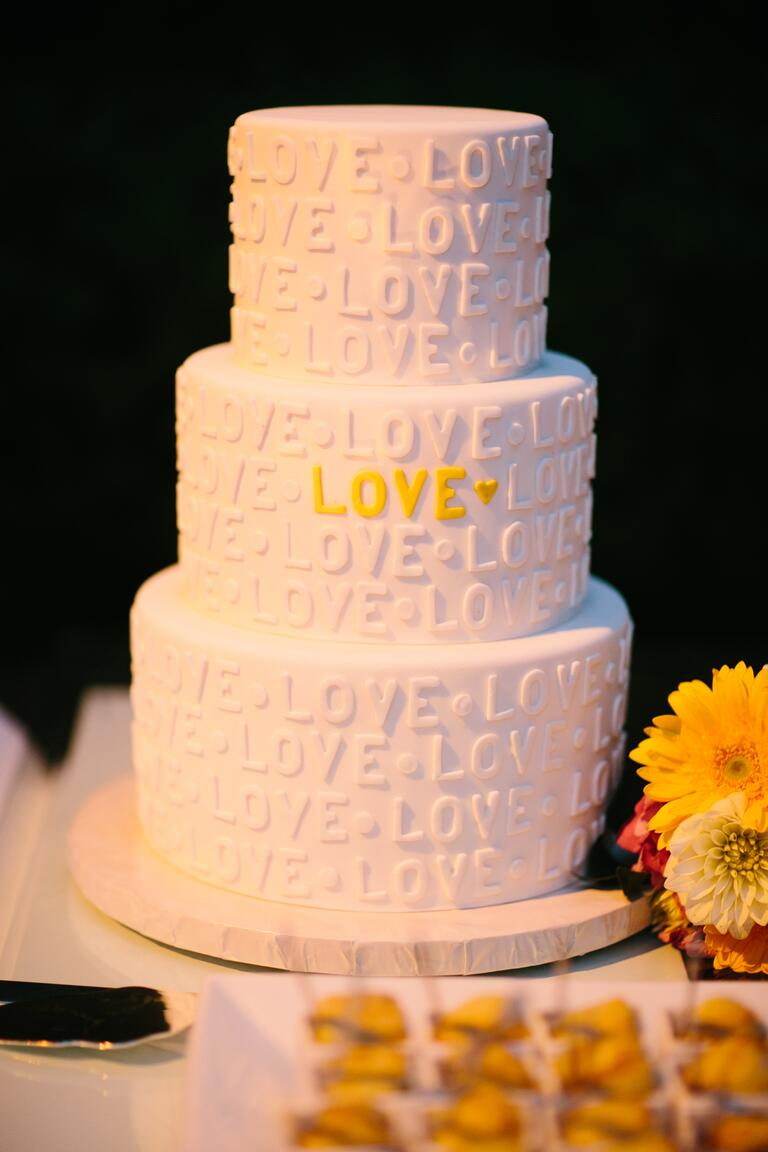 love white fondant wedding cake