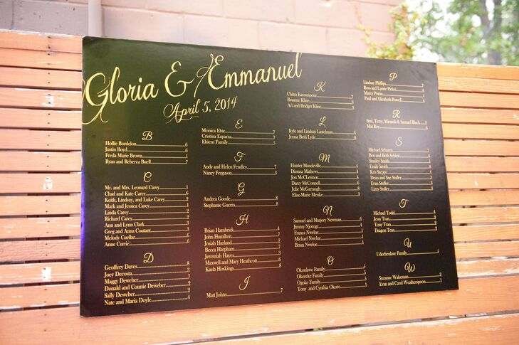 Instead of escort cards, Gloria and Emmanuel created a seating chart poster organized by name to tell guests were to sit.