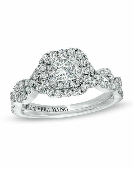 Vera Wang LOVE at Zales Vera Wang LOVE Collection - 1 CT. T.W. Princess-Cut Diamond Double Frame Engagement Ring in 14K White Gold  19958215 Engagement Ring photo