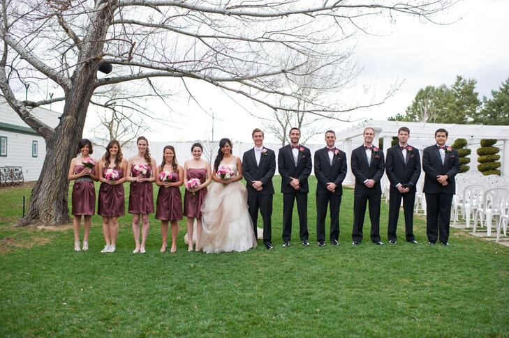 Formal Burgundy and Black Wedding Party