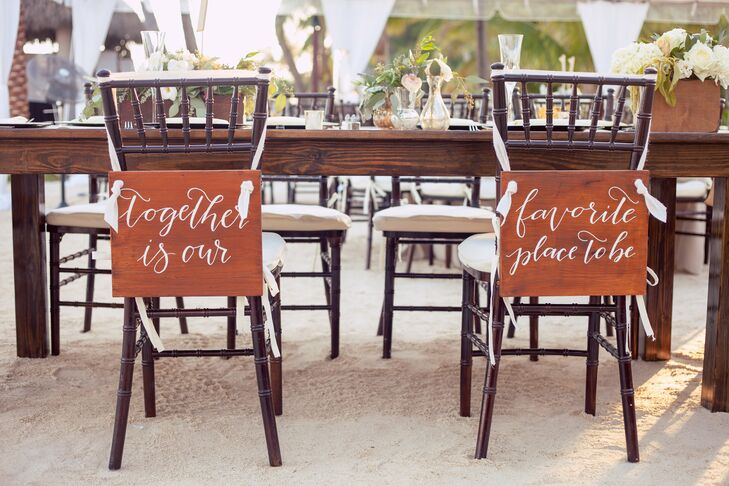 Bride and Groom's Reception Chair Signs