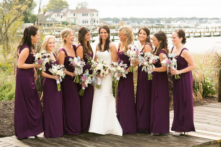 Dark Purple Amsale Bridesmaid Dresses