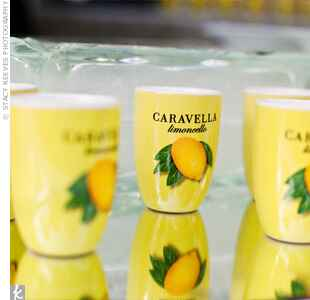 yellow limoncello cup with lemon image