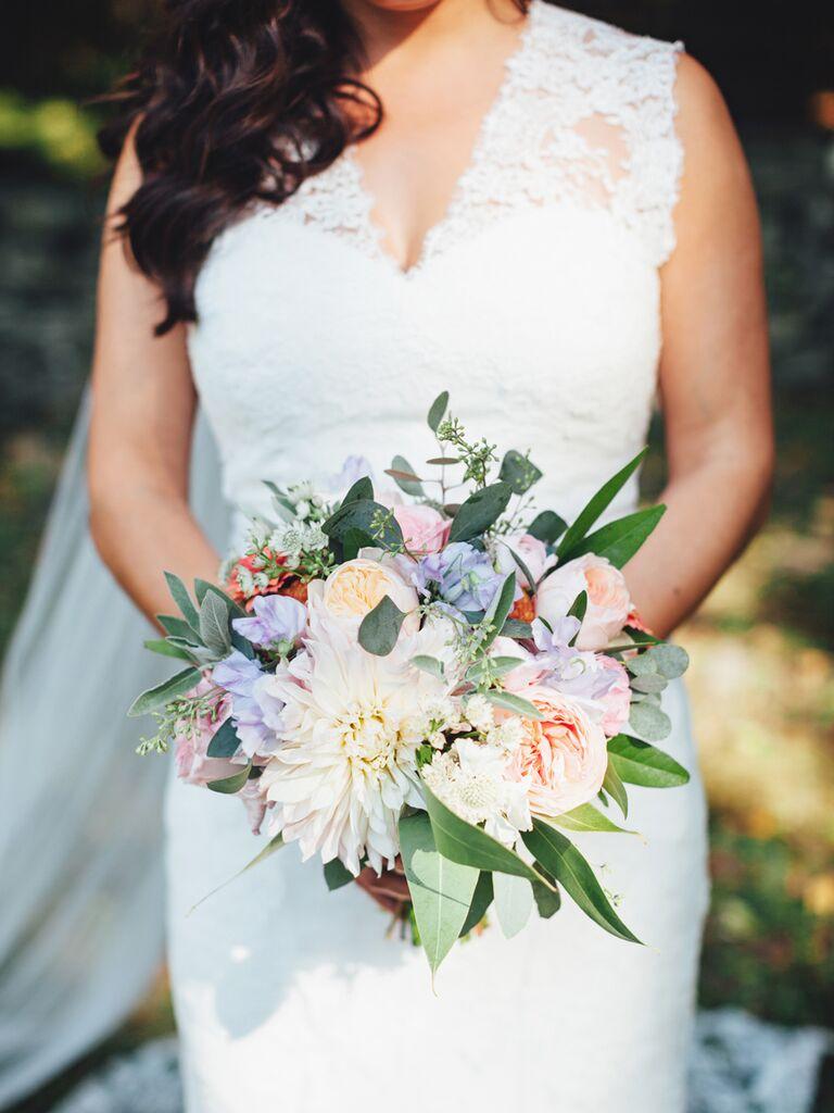 Pastel Fall Wedding Bouquet Idea With Dahlias And Garden Roses