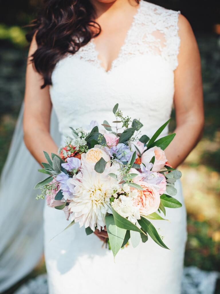 Pastel fall wedding bouquet idea with dahlias and garden roses