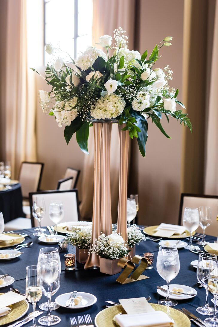Tall Gold And White Floral Arrangement