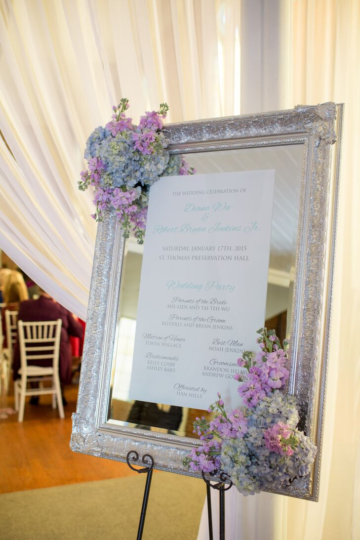 Vintage Silver Framed Mirror Wedding Ceremony Program