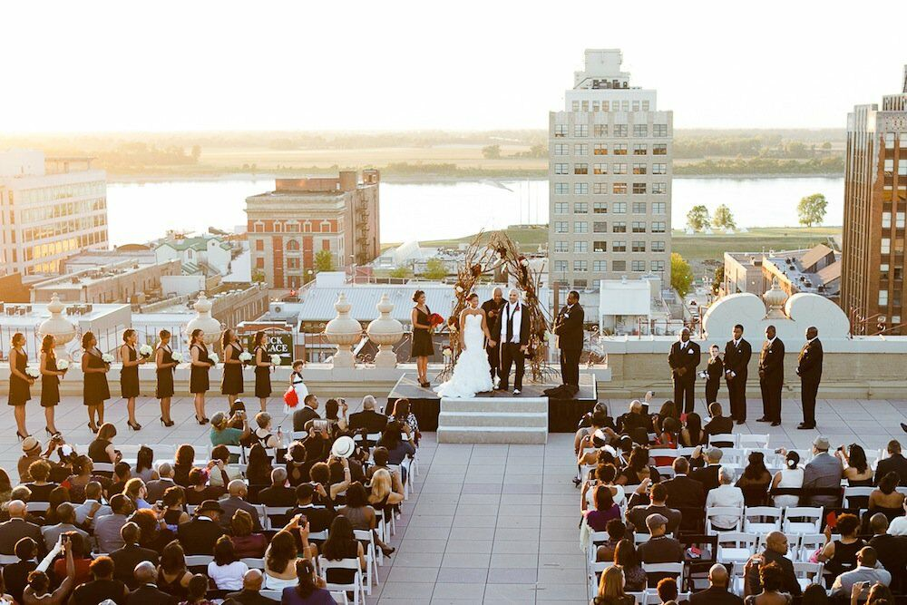 Rooftop Ceremony At The Peabody Hotel