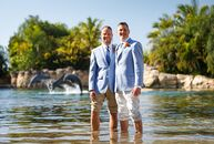Sascha Voss (41 and a catering sales manager) and Tom Keller (49 and a director of human resources) used light blue, sand tones and oranges to represe