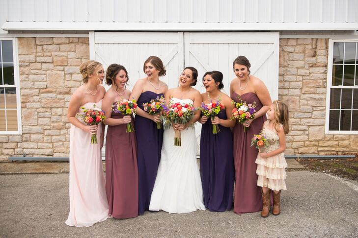 Strapless David&-39-s Bridal Bridesmaid Dresses in Mauve