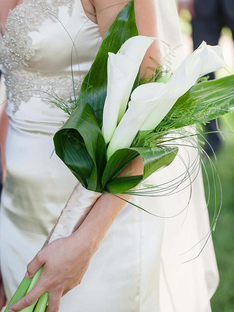 Unique pageant wedding bouquet idea with calla lilies