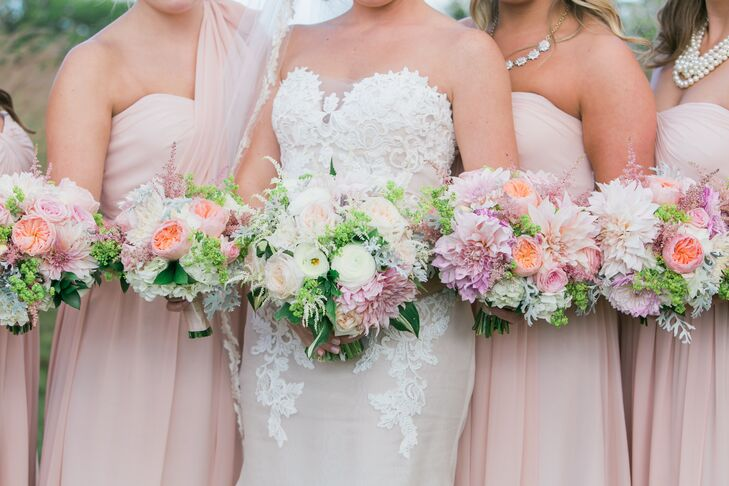 """I wanted a very full bouquet that had the look of grabbing a bunch of flowers right out of the garden and tying them together,"" says Kelly. ""We used garden roses, dahlias, and hydrangeas in blush pinks and cream colors."""