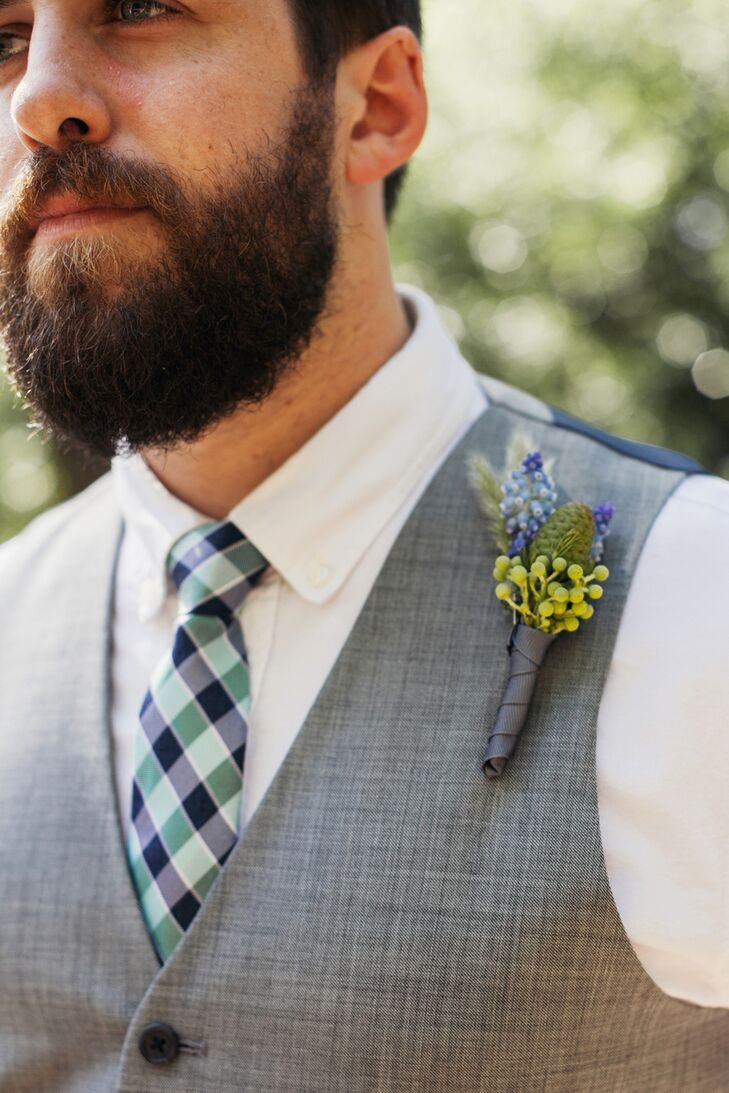 Blue and Green Natural Boutonniere