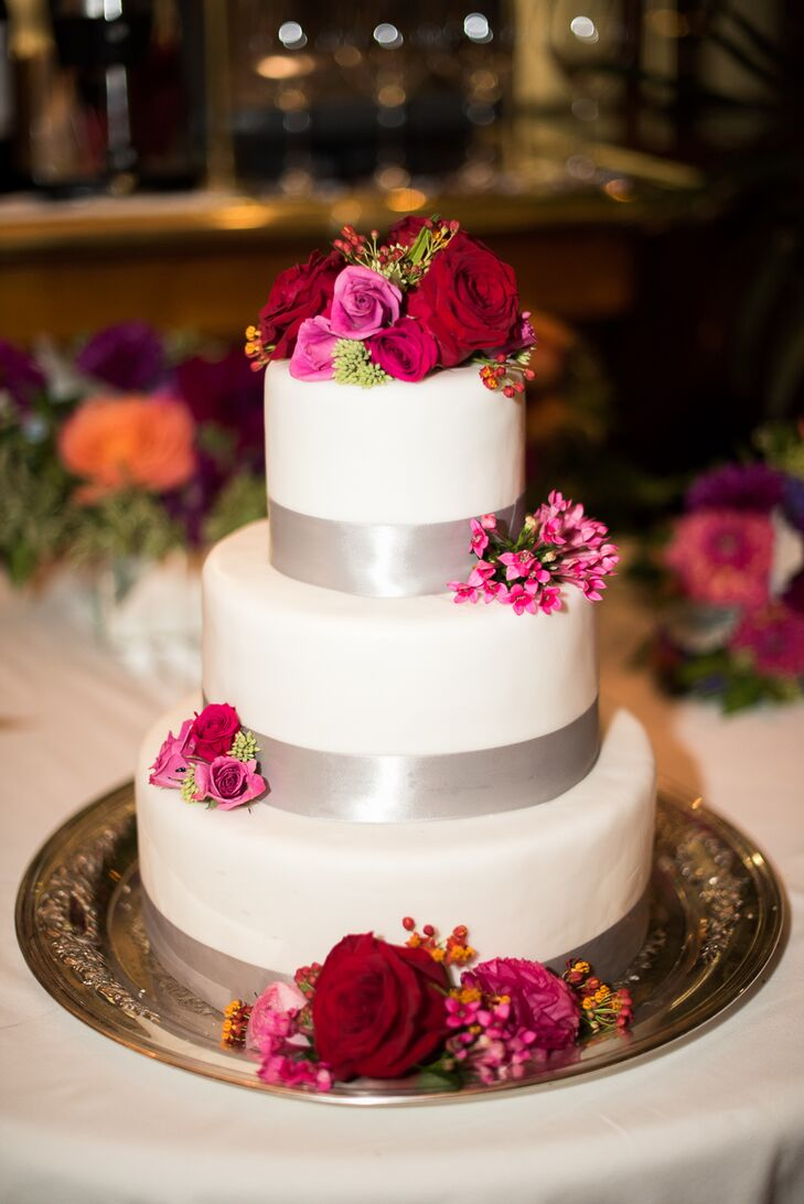 Three tier white cake with red and pink flowers mightylinksfo