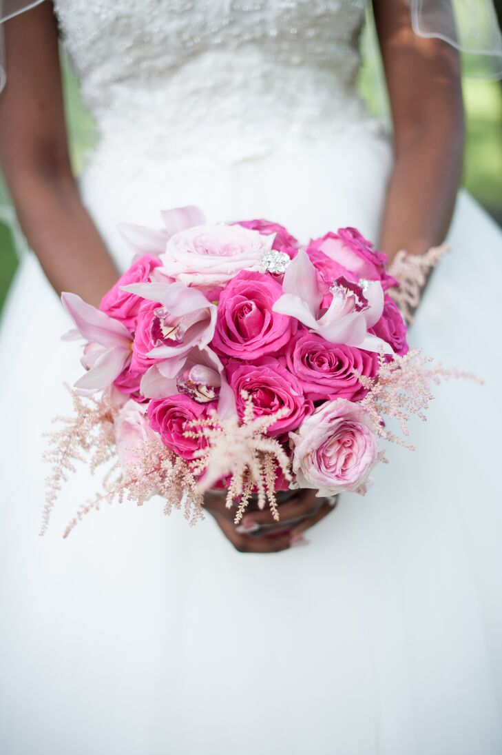 Pink Rose, Orchid and Astilbe Bouquet
