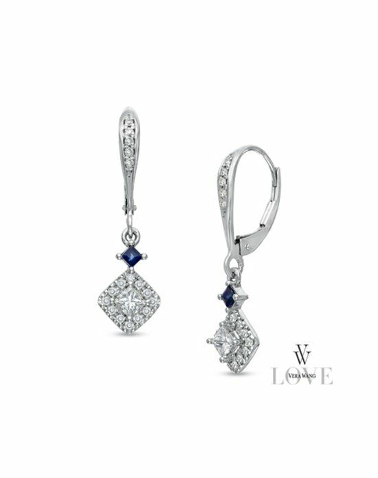 Zales Fine Jewelry Vera Wang LOVE Collection 1/2 CT. T.W. Princess-Cut Diamond and Blue Sapphire Drop Earrings in 14K White Gold  19352020 Wedding Jewelry photo