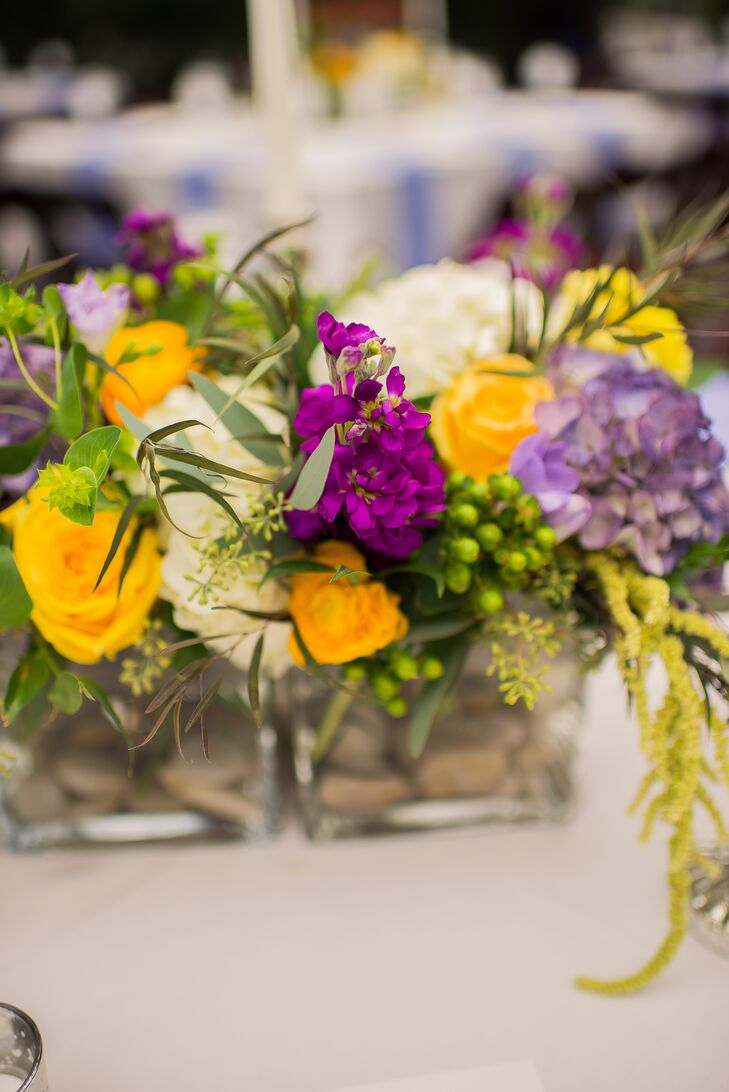 White Yellow And Purple Floral Arrangements