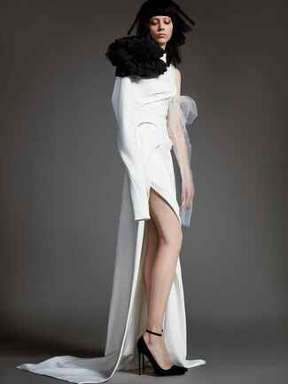 asymmetrical wedding dress with high slit