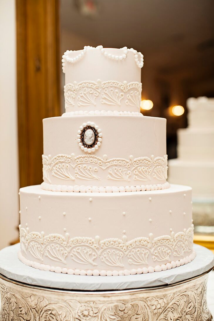 Elegant Buttercream and Cameo Wedding Cake