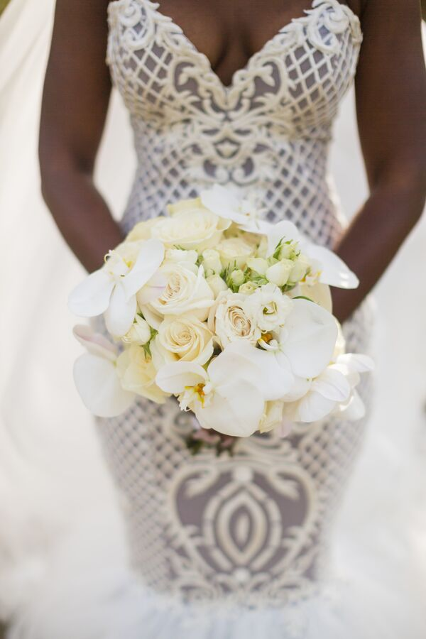 Clic White Rose And Orchid Bouquet
