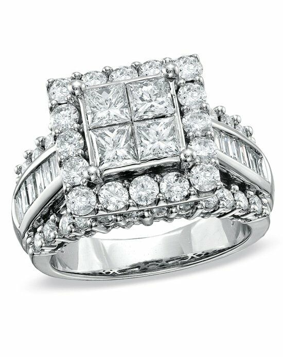 Zales 3 CT. T.W. Princess-Cut Quad Diamond Engagement Ring in 14K White Gold  18296418 Engagement Ring photo