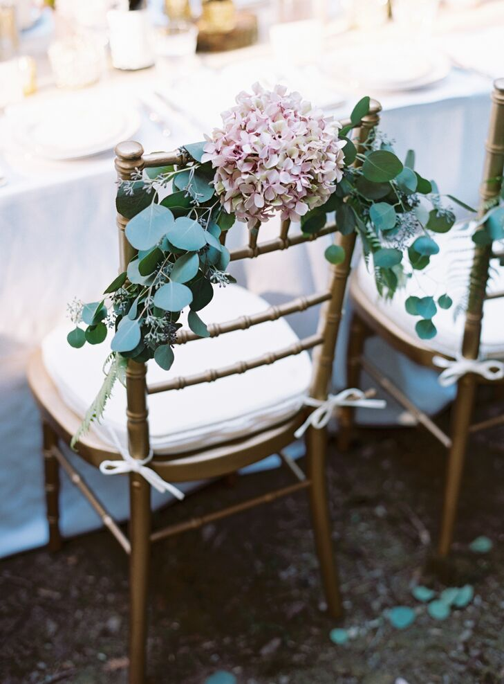 Hydrangea and Greens Natural Chair Decoration