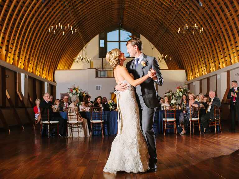 Bride and groom reception dance