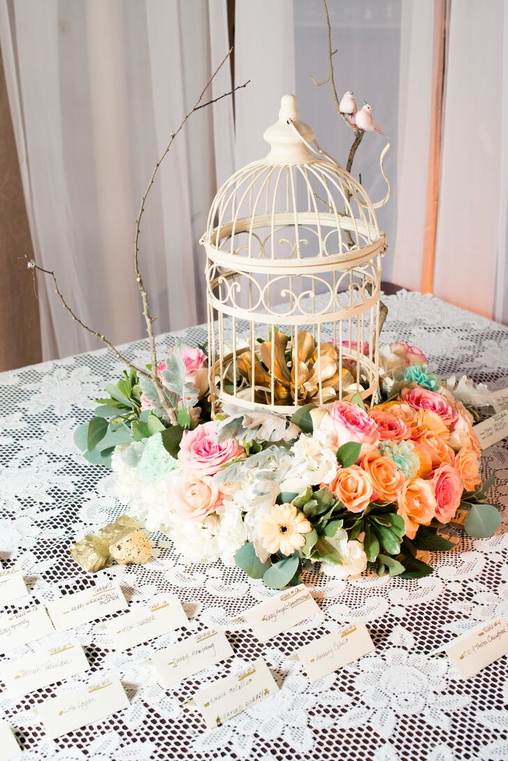 Birdcage Centerpieces with Lace Tablecloths