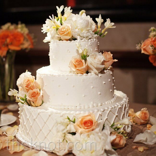 peach and white wedding cake floral wedding cake 18136